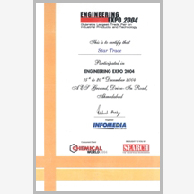 Engg. Expo 2004 certificate(Ahmedabad)-star trace